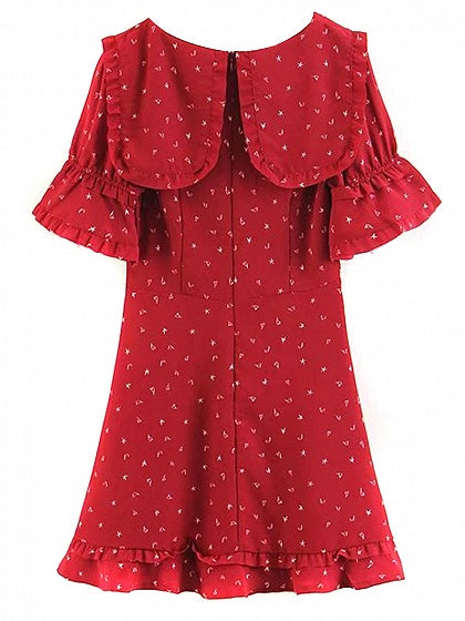Red Middy Collar Print Detail Frill Trim Mini Dress