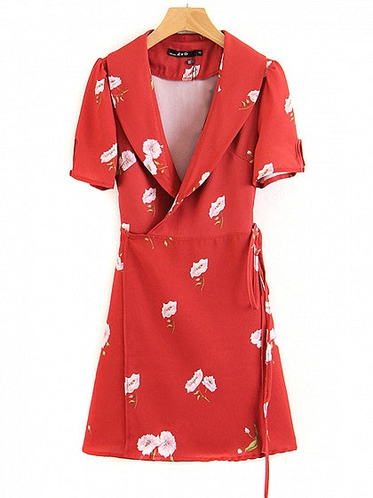 Red V-neck Floral Print Tie Waist Mini Dress