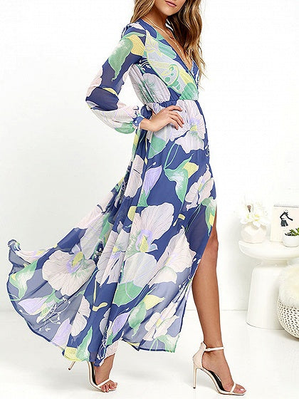 Plunge Floral Print Long Sleeve Maxi Dress