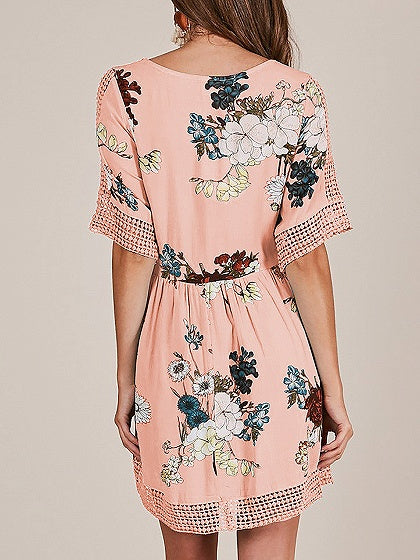 Pink V-neck Floral Print Lace Panel Cut Out Detail Mini Dress