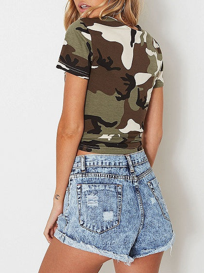 Army Green V-neck Camouflage Print Knot Front Crop T-shirt