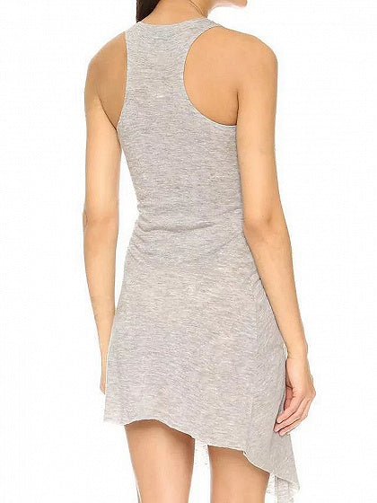 Gray Thigh Split Side Ruched Detail Asymmetric Hem Mini Dress