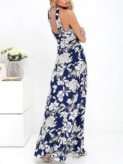 Blue Floral Print Open Back Maxi Dress