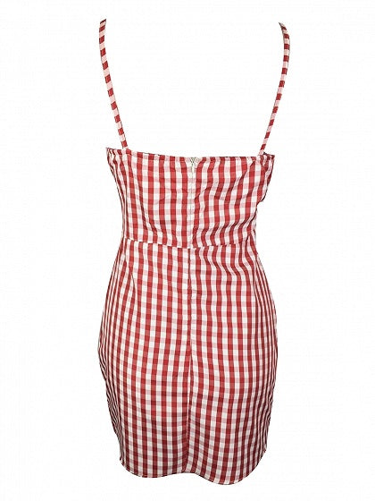 Red Plaid Spaghetti Strap V-neck Tie Front Mini Dress