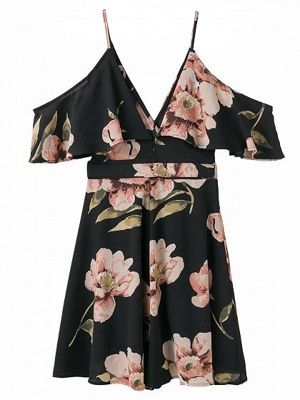 Black Plunge Floral Print Tie Waist Open Back Slip Mini Dress