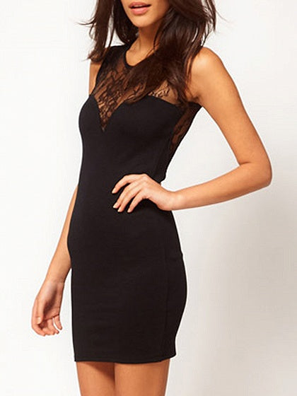 Black Lace Panel Sleeveless Bodycon Mini Dress