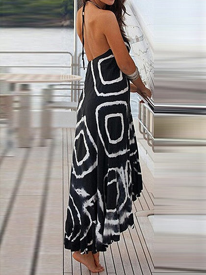 Black Halter V-neck Circle Print Open Back Hi-Lo Maxi Dress