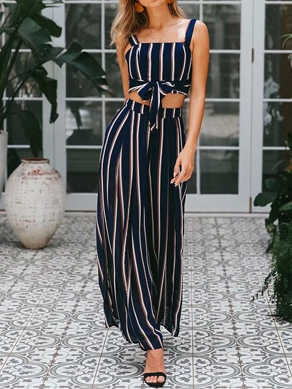 Dark Blue Stripe Tie Front Crop Cami Top And High Waist Pants
