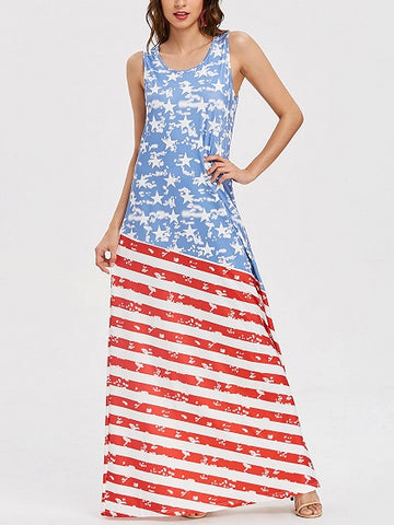Blue Contrast Scoop Neck American Flag Print Maxi Dress