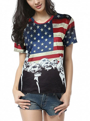 Blue Crew Neck American Flag Print Blouse