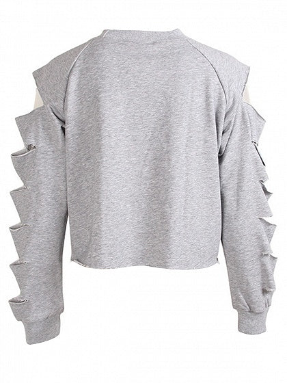 Gray Crew Neck Cut Out Detail Long Sleeve Crop Sweatshirt