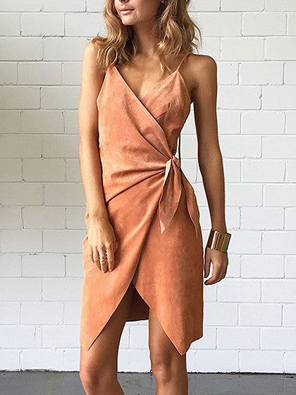 Brown Suede V-neck Tie Waist Ruched Detail Slip Mini Dress