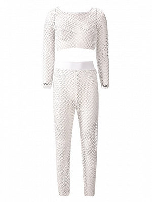 White Fishnet Long Sleeve Crop Top And High Waist Pants