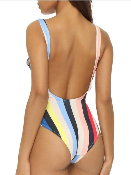Polychrome Stripe One-piece Swimsuit