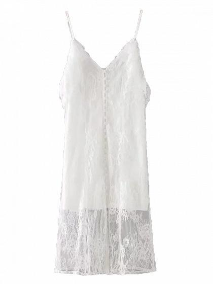 V-neck Ruffle Trim Open Back Lace Cami Midi Dress