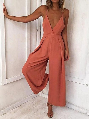 Spaghetti Strap V-neck Open Back Romper Jumpsuit
