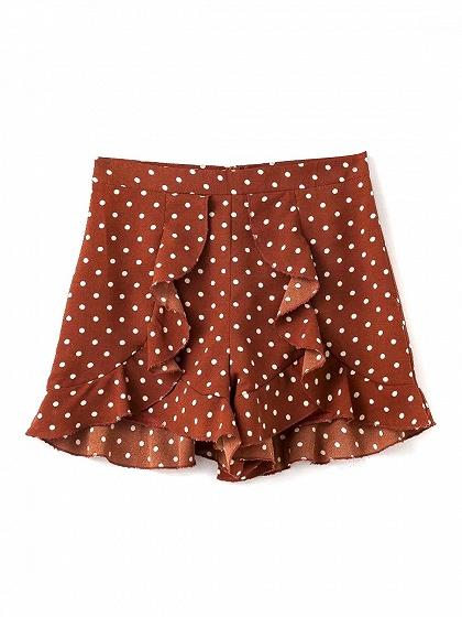 Red Polka Dot High Waist Ruffle Trim Shorts