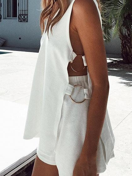 White Ribbed V-neck Metal Circle Detail Open Side Tank Top