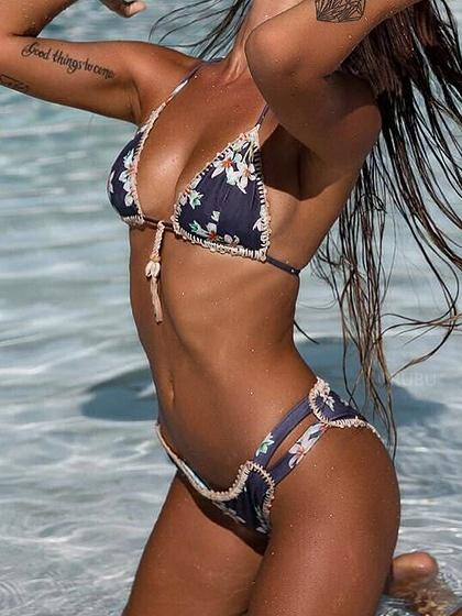 Blue Halter Floral Print Shell Detail Bikini Top And Bottom