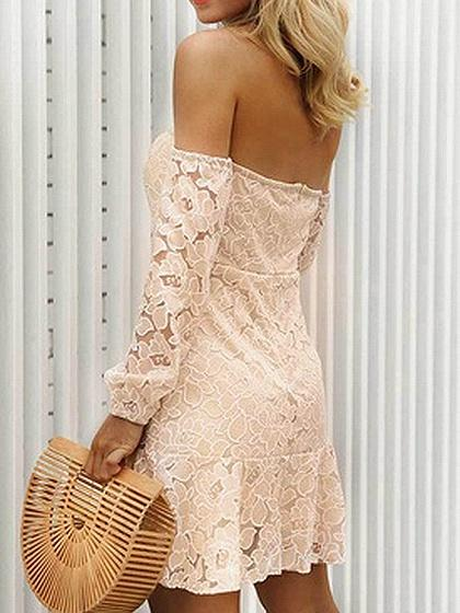 Khaki Off Shoulder Open Back Long Sleeve Mini Dress