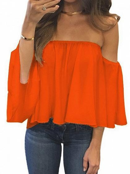 Off Shoulder Long Sleeve Blouse