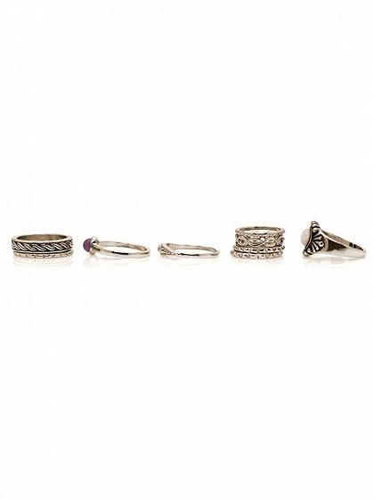 Silver Stone 9 Pack Rings