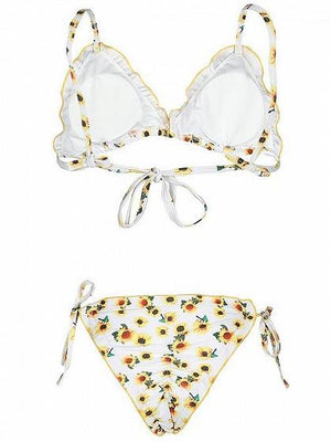 White Sunflower Print Frill Trim Bikini Top And Bottom