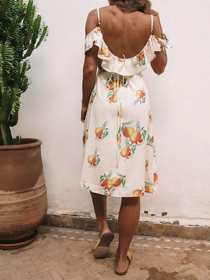 White Plunge Fruit Print Tie Waist Thigh Split Chic Women Midi Dress