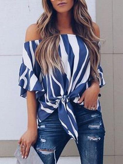 Zebra Stripes Chiffon Off Shoulder Chic Women Ruched Blouse