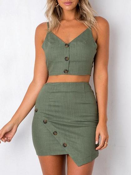 Cotton V-neck Chic Women Crop Top And High Waist Mini Dress