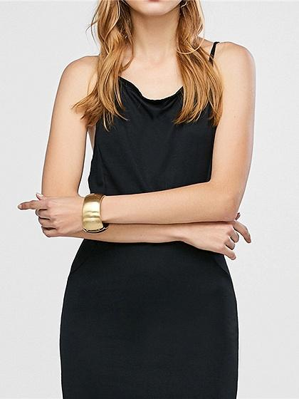 Black Spaghetti Strap Back Cross Backless Chic Women Mini Dress