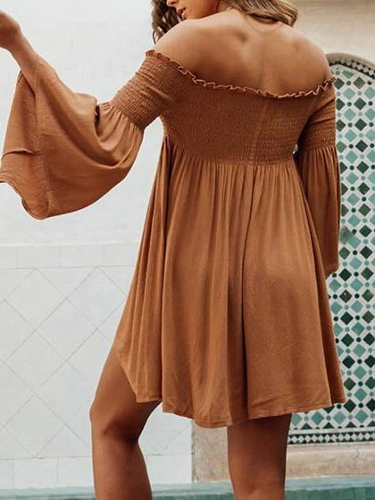 Chiffon Off Shoulder Ruched Flare Sleeve Chic Women Mini Dress