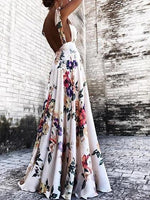 White Floral Print Open Back Sleeveless Chic Women Cami Maxi Dress
