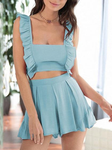 Blue Square Neck Tie Back Chic Women Crop Top And High Waist Shorts