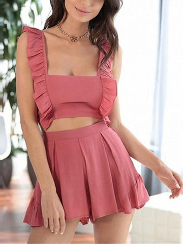 Red Square Neck Tie Back Chic Women Crop Top And High Waist Shorts