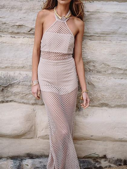 Beige Halter Cut Out Lace Up Backless Chic Women Maxi Dress