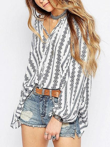 White Stripe Cotton V-neck Tie Front Long Sleeve Chic Women Blouse