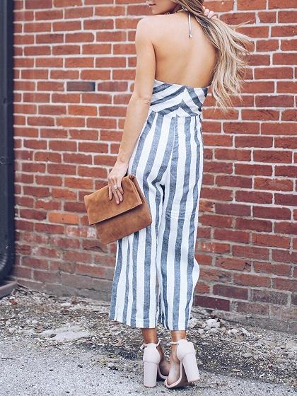 Gray Stripe Halter Open Back Chic Women Romper Jumpsuit