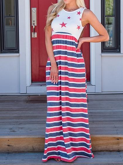 Red Stripe Star Print Panel Sleeveless Chic Women Maxi Dress