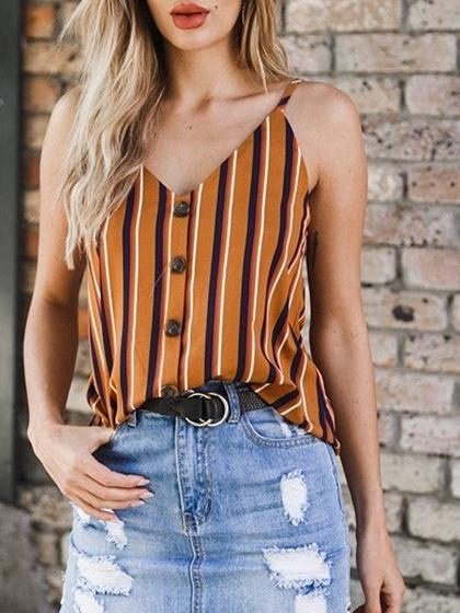 Orange Stripe V-neck Open Back Chic Women Cami Top
