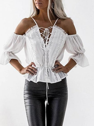 White Chiffon V-neck Lace Up Front Long Sleeve Chic Women Blouse