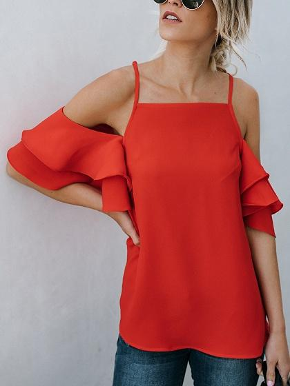 Red Chiffon Cold Shoulder Ruffle Sleeve Chic Women Cami Blouse