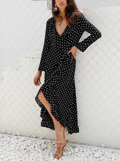 Black Polka Dot Cotton V-neck Long Sleeve Chic Women Hi-Lo Midi Dress