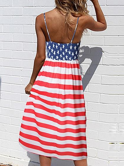 Red Stripe Star Print Panel Open Back Chic Women Cami Midi Dress