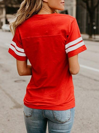 Red Cotton Letter Print Stripe Panel Chic Women T-shirt