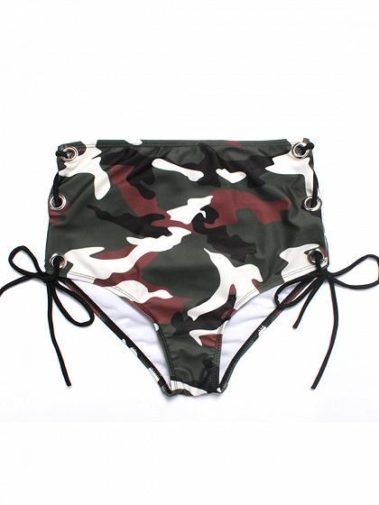 Army Green Camo Print Chic Women Bikini Top And High Waist Bottom