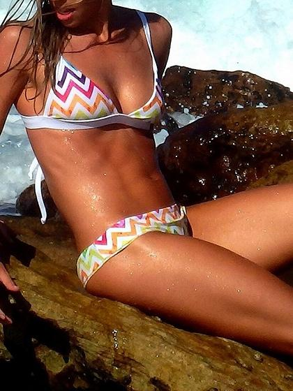 Multicolor Nylon Chevron Print Chic Women Bikini Top And Bottom