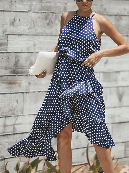Blue Cotton Polka Dot Print Sleeveless Chic Women Hi-Lo Midi Dress