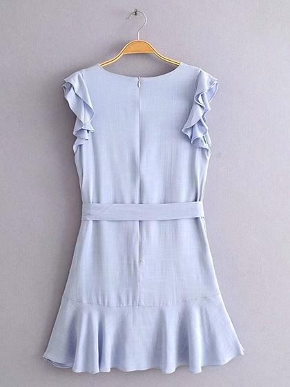 Blue Cotton Ruffle Trim Tie Waist Sleeveless Chic Women Mini Dress