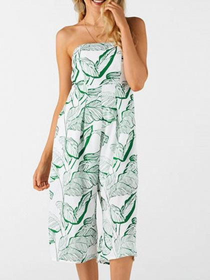 Green Cotton Bandeau Leaf Print Chic Women Romper Jumpsuit